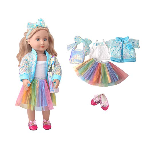 Veroda Sequins Cardigan Camisole Rainbow Skirt Hair band Shoulder Bag Shoes Outfit Set for 18″ American Girl Doll