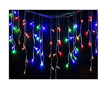 best service 9ede1 45ab7 120 LED Outdoor Icicle Waterproof Battery 8 Multi-Function with Timer  String Lights Christmas Garden Xmas Party Fairy (Multi-Coloured)