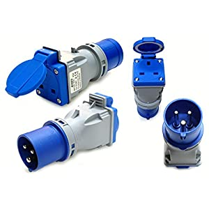 16 amp plug to 13 amp socket converter adaptor compact 220 – 250 volt camping caravan generator