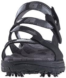 Golfstream Women\'s Spike Sandal Golf Shoe, Glitter Black/Crystal Steel, 10 M US
