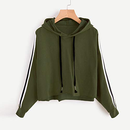 Chemisier Casual à Sweat Rayures Striped à Tops Vert Capuche Sweat Hood Femme Long Pull Pull Molletonné Beikoard Shirt q1v6a6