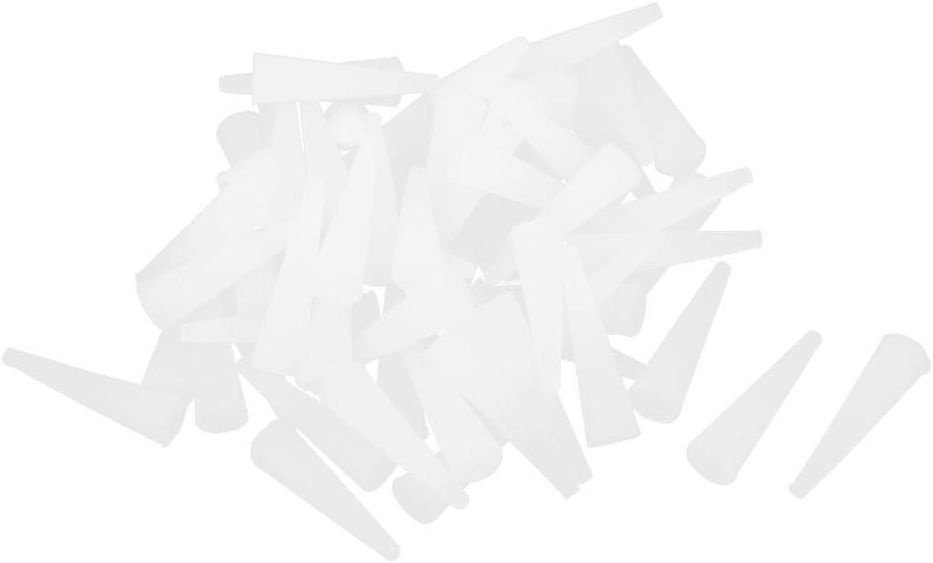 60Stk 23mmx6,3mmx2,3mm Silikon Stecker konische Gummistopfen wei/ß