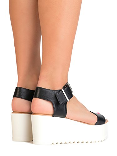 J Sandal Buckle Toe Adams Platform White Surf Open Women's Black xr0UxYa