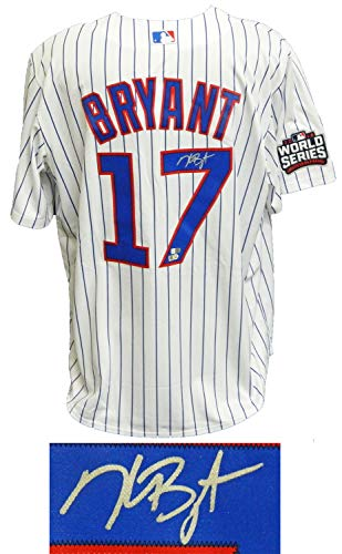 Kris Bryant Autographed Signed Chicago Cubs White Pinstripe 2016 World Series Patch Majestic Jersey - Certified Signature