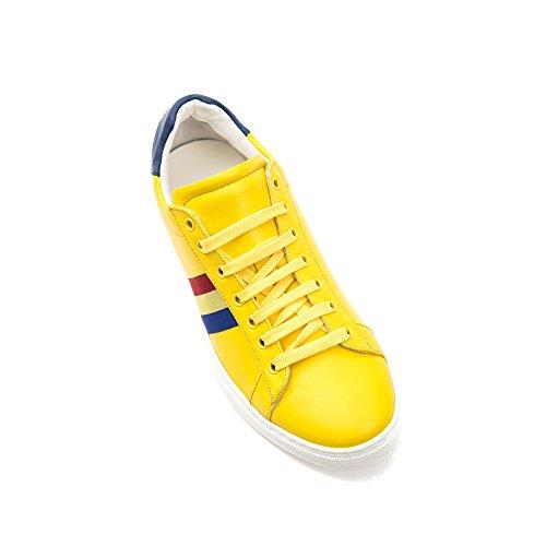 in Made Italy Royal Giallo Bianco Pelle in Scarpa Uomo Castelbajac Sneaker Stringata WcTU0q0