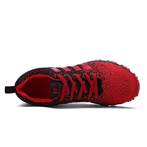 Topteck Herren Atmungsaktive Strick Sportschuhe Damen Solf Leichte Laufschuhe Sneskers Outdoor Workout Gym Tennis Schwarz Rot