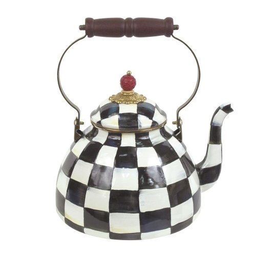 MacKenzie-Childs Courtly Check Enamel Tea Kettle 3 Quart by MacKenzie-Childs