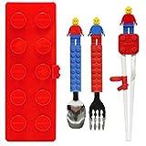 Brick Figure Design Oxford Training Chopsticks Spoon Fork Case Set for Right-hand Children Kids (RedCaseSpoonForkChopsticks)