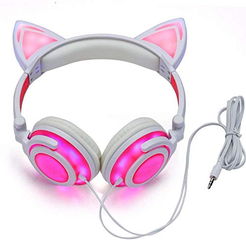 (Cat Ear Headphones Glowing Lights with USB Charging Cable)