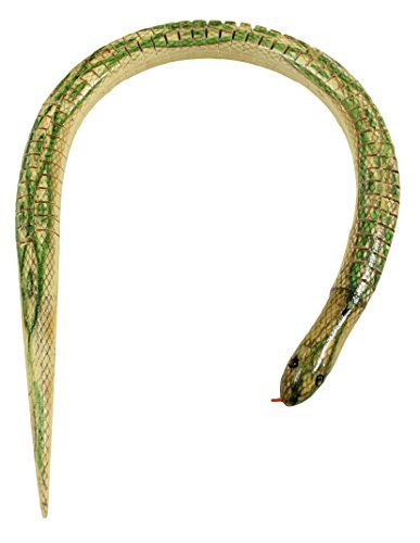 20 Inch Realistic Notched Painted Wood Wiggle Snake (Green)