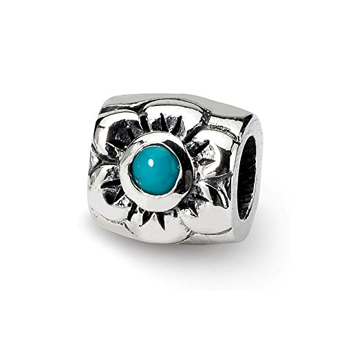 925 Sterling Silver Charm For Bracelet Blue Turquoise Bead Floral Stone Crystal Fine Jewelry Gifts For Women For Her