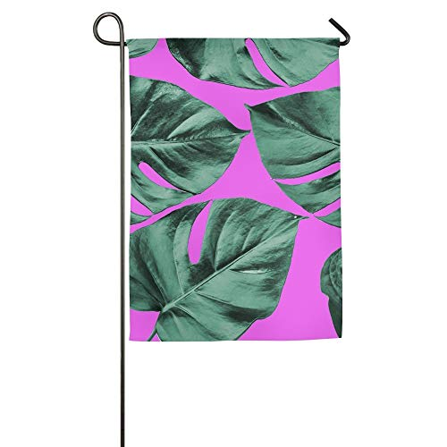 AshleyLM Welcome Garden Flag Colorized Monstera Leaves in Background Abstract Background Ideal for Wallpaper Summer Burlap Yard Decor,12x18/27x37 -