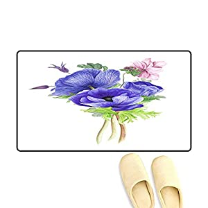 Floor Mat Pattern Bouquet of Flowers Anemones Clematis an Branches of Eucalyptus 111