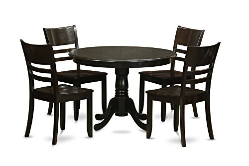 - East West Furniture HLLY5-CAP-W 5-Piece Kitchen Table and Chairs Set, Cappuccino Finish