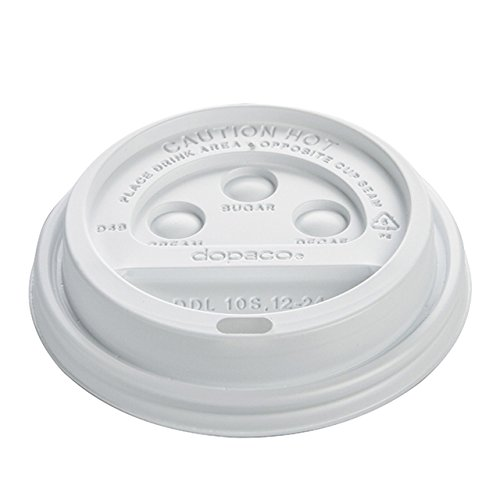 White Paper Dopaco - Dopaco DDL124WD CPC White Dome Lids for Paper Hot Cups44; Case of 1000