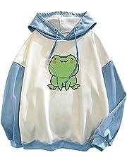 Kawaii Kikker-sweatshirt voor dames, lange mouwen, splice tops, cartoon, schattige hoodies, tieners, meisjes, casual, pullover, grafische tees, dierenpatchwork, hoodie shirt