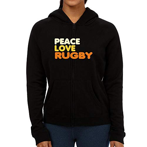 Idakoos Peace, Love and Rugby Women Zip Hoodie L Black
