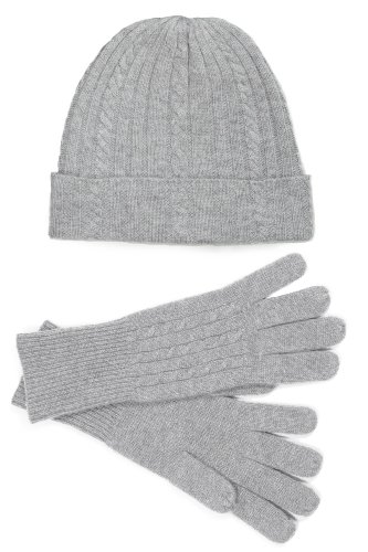Fishers Finery Women's 100% Pure Cashmere Hat & Glove Set with Gift Box (Gray)