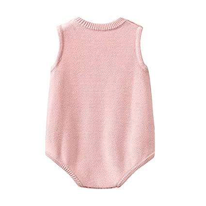 JJCat Baby Girls O-Neck Sleeveless Flowers Embroidery Wool Knitted Triangle Rompers