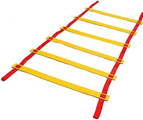 Kofferraum Fútbol Escalera de Agilidad, Formación Pace Saltar cuadrícula Escalera, Entrenamiento de Velocidad Suave Escalera de Cuerda, Suave General Perfil del Enrejado, 5 Metros 10 Nudos,Rojo: Amazon.es: Hogar