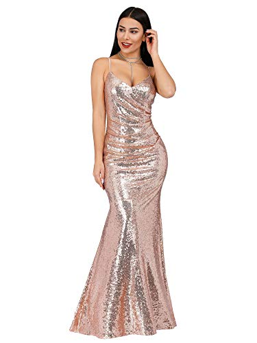 (Women Sparkle Rose Gold Sequins Bridesmaid Dresses Prom Evening Gowns Rose Gold US6)