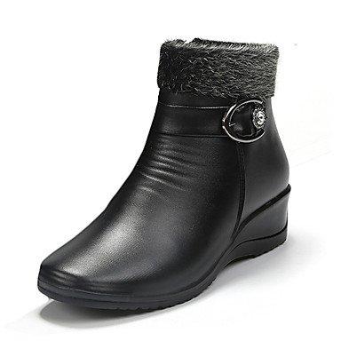 RTRY Zapatos De Mujer Pu Primavera Otoño Invierno Confort Botas Botas De Combate Chunky Talón Puntera Redonda Hebilla Casual Negro Marrón Oscuro US7.5 / EU38 / UK5.5 / CN38