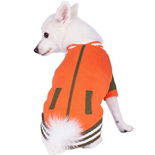 (Blueberry Pet 2 Patterns Weekender Sports Baseball Jacket Style Pullover Dog Sweater in Orange, Back Length 14