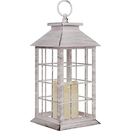 13'' Country Style White Rustic Lantern with Flickering Flameless LED Candle and 4 Hour Timer by Seraphic