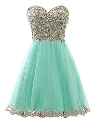 Women's Gold Lace Applique Short Prom Grown Long Homecoming Dresse Bridesmaid Dress Tiffany Blue - Gold Blue And Tiffany