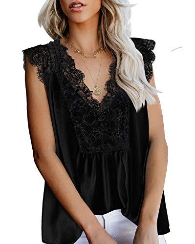Trim Cami Lace Mesh - LEANI Women's Lace Cami Tank Top Sexy Sleeveless V Neck Semi Sheer Mesh Blouse Tunic Black