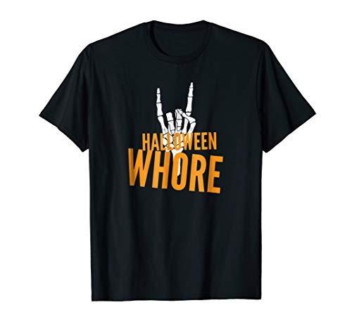 Halloween Whore Rock on Skeleton t shirt -