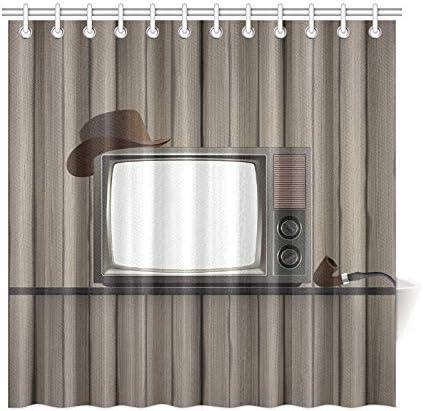 Cortina de baño de decoración para el hogar Televisor antiguo vintage en estante Cortina de ducha impermeable de tela de poliéster vieja para baño, cortinas de ducha de 72 x 72 pulgadas