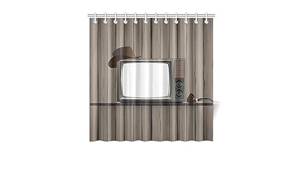Cortina de baño de decoración para el hogar Televisor antiguo ...