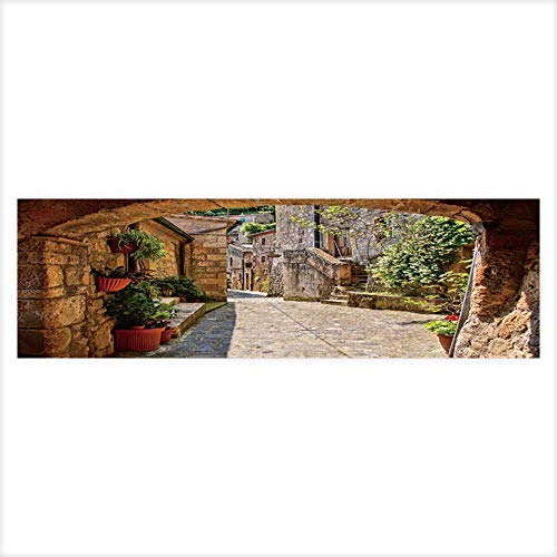 Leighhome Aquarium Background Arched Cobblestone Street in a Tuscan Village,Italy Wallpaper Fish Tank Backdrop Static Cling 29.5