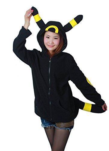 Ztl Unisex Cosplay Costumes Plush Animal Pajamas Onesie Hoodie Suits Jacket Eevee Black Size -