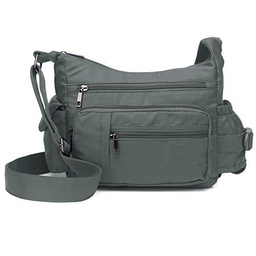 - Volcanic Rock Shoulder Bags Messenger Handbags Multi Pocket Waterproof Crossbody Bags(Gray-9.8