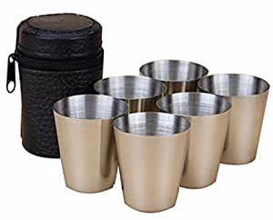 cc-jj–Bolsa 6piezas 30ml tazas tazas de acero inoxidable vino cerveza