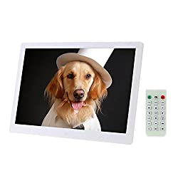Andoer Digital Photo Picture Frame with MP3 MP4 E-book Calendar Clock Function with Remote Controller (15.6 inch/white)