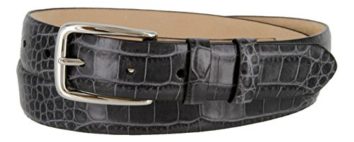 Armando Genuine Italian Calfskin Leather Dress Belt for Men(Alligator Gray, (Alligator Skin Belt)