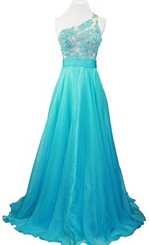 Meier Women's One Shoulder Lace Sheer Top Prom Pageant Formal Dress Aqua size 10