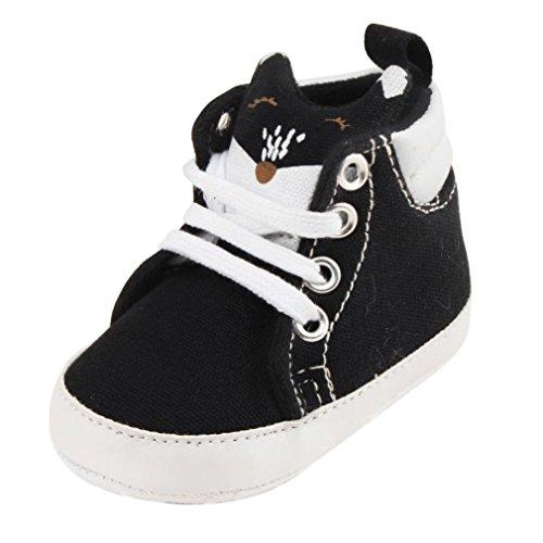Xshuai Baby Mädchen Jungen Lace-up Canvas Bequeme Krippe Schuhe Prewalker Soft Sohle Sneakers (0-18 Monate) Schwarz