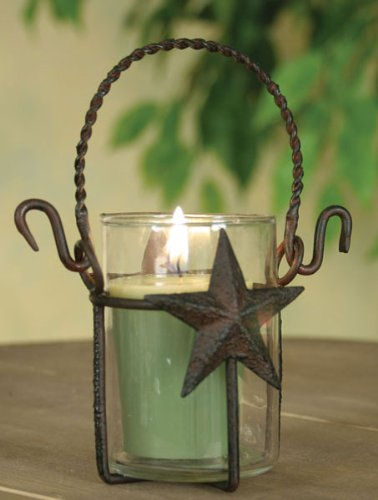 Rustic Primitive Metal Star Lantern Votive Candle Holder