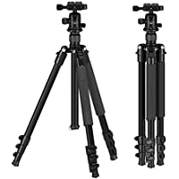 Tairoad Q555 Camera Tripod - Aluminum Lightweight Travel Tripod 62.5 inch with Flip Leg Lock and 360 Degree Ball Head - Stable to Support Canon EOS Nikon Sony Camera DSLR - Black