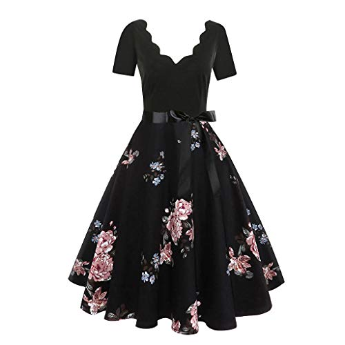 Aunimeifly Ladies Flower Trim V-Neck Short-Sleeved Printed Dress Bow Ribbon Lace-Up Elegant Swing Dress ()