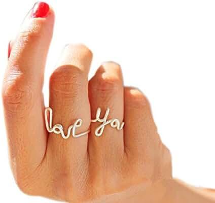 SUNSCSC Romantic Handmade LOVE YOU Stack Plain Above Knuckle Rings Mid Finger Rings Set of 2pcs