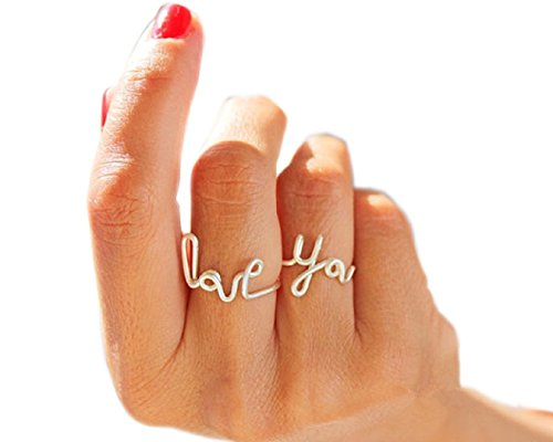 SUNSCSC Romantic Handmade LOVE YOU Stack Plain Above Knuckle Rings Mid Finger Rings Set of 2pcs