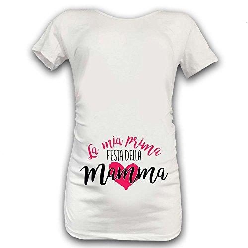 """T Shirt Maglia Premaman """"Prima Festa della Mamma"""" Bianca Bianca Grafica Femminuccia XL Manica Corta"""