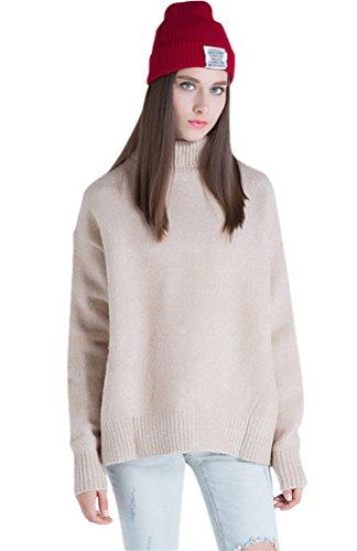 Voguees-Femme-Col-Haut-Fentes-Latrales-Pure-Tricot-Sweaters-Beige