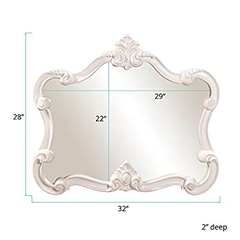 Howard Elliott Veruca Rectangular Mirror, Ornate Wall Piece, Glossy White Lacquer, 28 x 32-Inch
