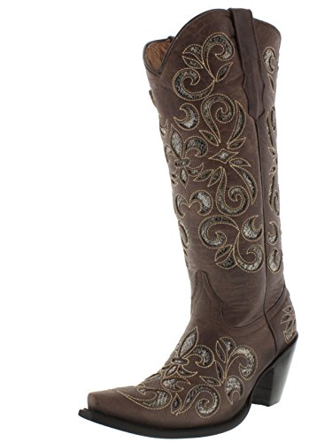 Cowboy Professional Womens Brown Python Flower Inlay Leather Cowboy Boots Brown g925Outx9Q